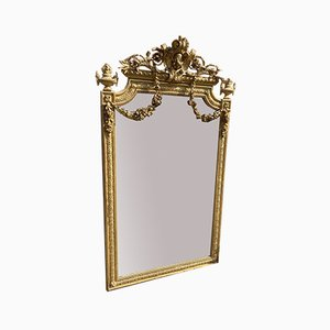 Large Antique French Carved Wood & Gesso Shaped Top Original Gilt Mirror