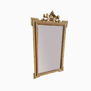 Large Antique French Carved Wood & Gesso Gilt Mirror