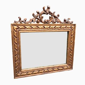 Antique French Carved Wood & Gesso Gilt Rope Twist Mirror