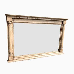 Antique English Carved Wood & Painted Overmantle Mirror