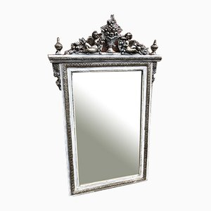 Antique French Carved Wood, Gesso Silvered & Painted Mirror