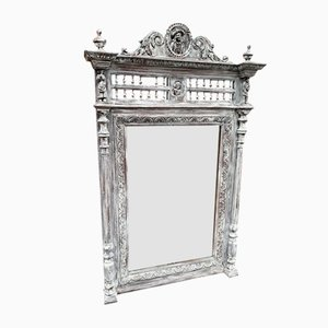 Large Antique French Carved Wood & Distressed Painted Mirror