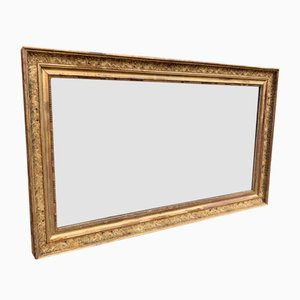 Large Antique French Carved Wood & Gesso Gilt Detailed Frame Mirror