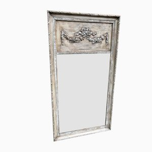 Large Antique French Carved Wood & Gesso Distressed Painted Mirror