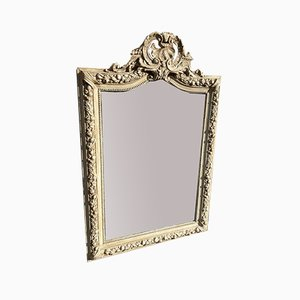 Antique French Carved Wood & Gesso Painted Shaped Top Mirror