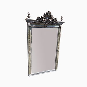 Large Antique French Carved Wood, Gesso Silvered & Painted Mirror