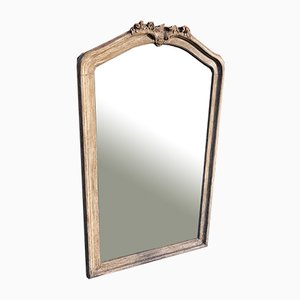 Large Antique French Carved Wood & Painted Shaped Top Mirror