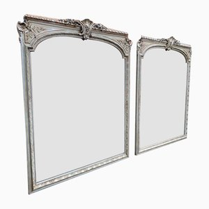 Large Antique French Silvered and Painted Shaped Top Mirrors, Set of 2