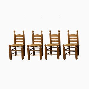 Dining Chairs in the Style of Charles Dudouyt, 1960s, Set of 4