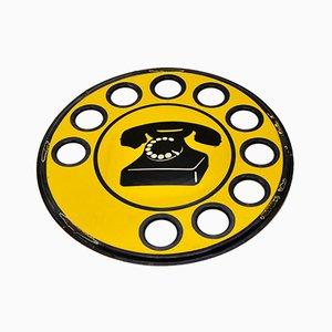 Italian Yellow Enamel Metal Telephone Sign, 1960s