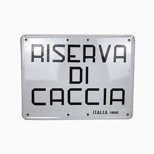Vintage Italian Enamel Metal Hunting Reserve or Riserva di Caccia Sign, 1970s