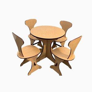Geschwungenes Schichtholz & Laminat Palisander Esstisch & Stühle Set von Pedini Fano, 1960er, 5er Set