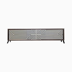 Scandinavian Modern Black & White Patterned Walnut Sideboard, 1960s