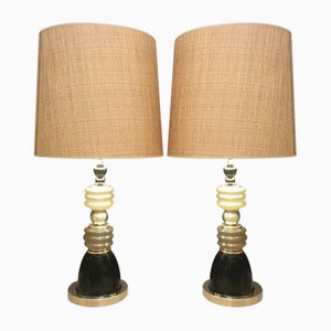 Vintage Murano Glass Table Lamps, Set of 2