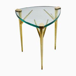 Tavolino da caffè in ottone e vetro smussato di Max Ingrand per Fontana Arte, anni '50