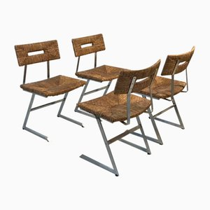 Vintage Constructivist Metal Dining Chairs, 1970s, Set of 4
