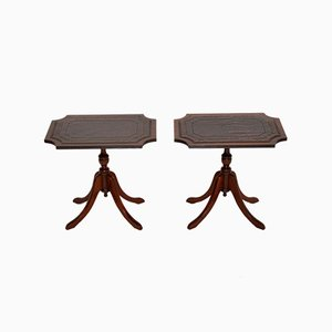 Regency Style Leather Top & Mahogany Side Tables, 1950s, Set of 2