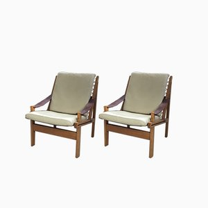 Mid-Century Norwegian Leather Lounge Chairs by Torbjørn Afdal for Bruksbo, 1960s, Set of 2