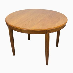 Art Deco Oak Extendable Oval Dining Table, 1920s