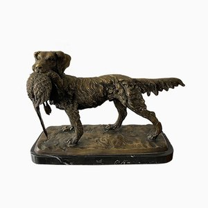 Bronze Dog With Pheasant on a Marble Base