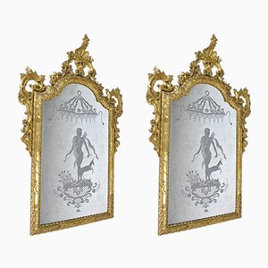 Large 19th Century Engraved Mirrors with Golden Wood Frame, Venice, Set of 2