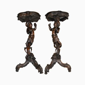 Late-19th Century Carved Wooden Putti Tables, Set of 2