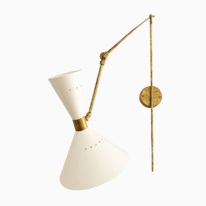 Beige Adjustable Cone Wall Light, 1980s