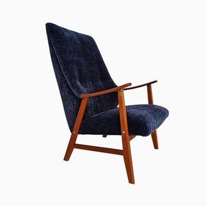 Vintage Danish Teak and Velvet Armchair, 1970s