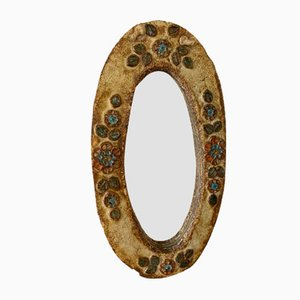 Mid-Century French Ceramic Mirror by Les Argonautes for Vallauris, 1960s