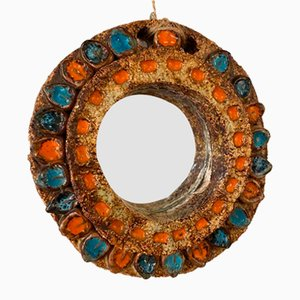 Mid-Century French Ceramic Mirror by Les Argonautes for Vallauris, 1960s
