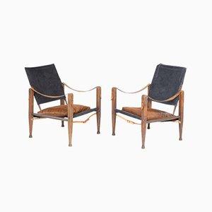 Dänische Mid-Century Armlehnstühle im Stil von Kaare Klint, 2er Set
