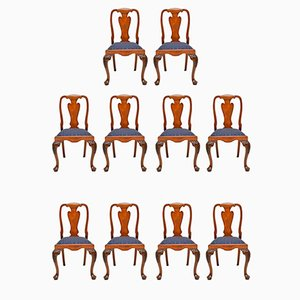 Vintage Queen Anne Style Burr Walnut Dining Chairs, Set of 10