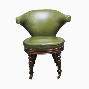 19th-Century Mahogany and Green Leather Desk Chair