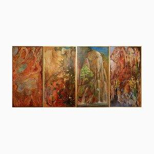 Dekorative Bemalte Paneele, 1970er, 4er Set