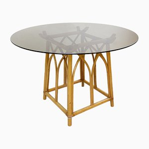 Bamboo Round Dining Table With Smoked Glass Top, 1970s