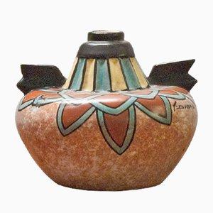 Vaso Art Déco dipinto a mano di Antoine Dubois per Mons Pottery