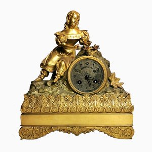 French Louis XVI Style Mantel Clock in Gilded Bronze, 1800s