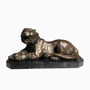 Mid-Century Bronze the Lioness on Marble Base by Russo