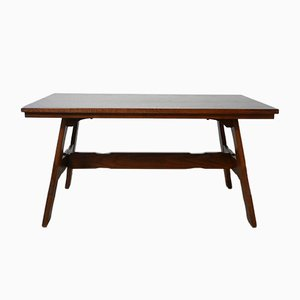 Mid-Century Oak Brutalist Belgian Dining Table