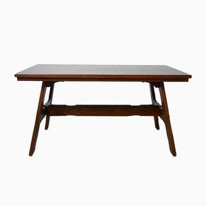 Tavolo da pranzo brutalista Mid-Century in legno di quercia