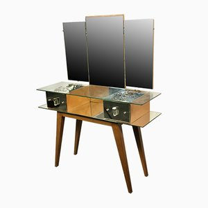 Wood Dressing Table with Mirror, 1950s