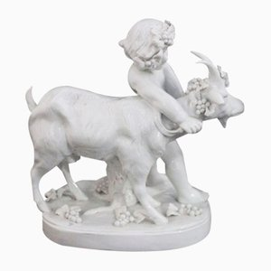 Bacchus with Goat Figure in White Ceramic from Capodimonte, 1920s