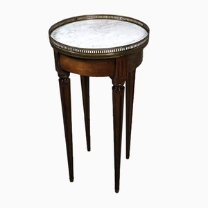 Louis XVI Style Marble Top and Brass Gallery Drum Side Table, 1950s
