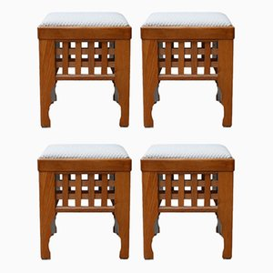Mid-Century Scandinavian Upholstered Stools, Set of 4