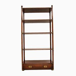 Military Campaign Style Mahogany Bookcase Cabinet, 1950s