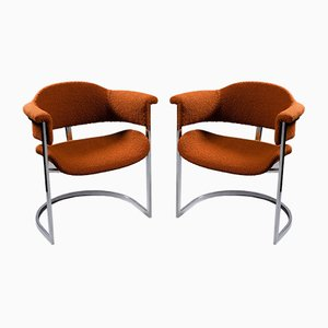 Italian Steel and Rust-Colored Bouclè Fabric Armchairs, 1960s, Set of 2