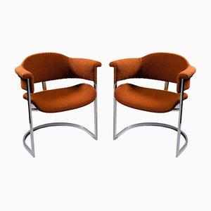 Italian Steel and Rust-Colored Bouclè Fabric Armchairs, 1960s, Set of 2