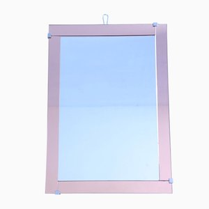 Mid-Century Mirror with Pink Glass