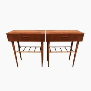 Tables de Chevet en Teck et Hêtre, Suède, 1960s, Set de 2