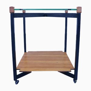 Mid-Century Wood, Glass & Metal Trolley Table